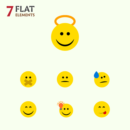 misunderstanding: Flat Icon Expression Set Of Have An Good Opinion, Displeased, Angel And Other Vector Objects