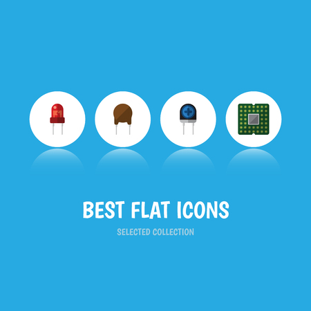 Flat Icon Appliance Set Of Triode, Transducer, Recipient And Other Vector Objects Illustration