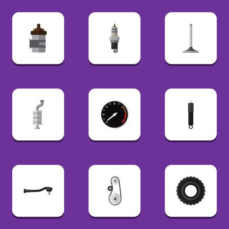 フラット アイコン ホイール、入力技術、Cambelt、他のベクトル オブジェクトを設定するコンポーネント。タイヤ、ベルト、スピードの要素も含まれ