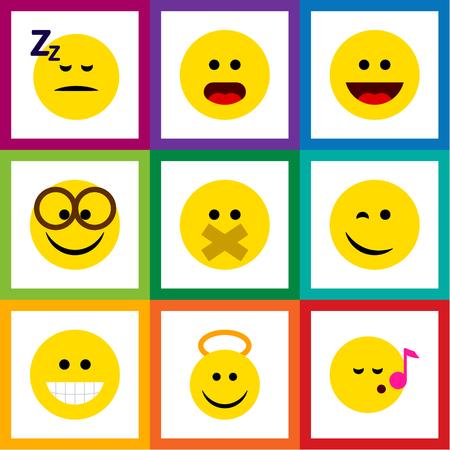 Flat Icon Gesture Set Of Pleasant, Angel, Winking et d'autres objets vectoriels