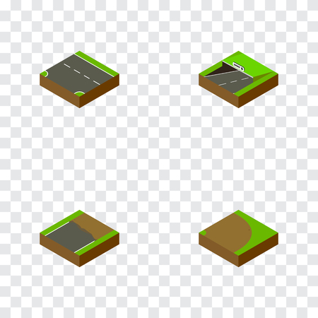 Isometric Road Set Of Downward, Unfinished, Subway And Other Vector Objects. Also Includes Downward, Subway, Unfinished Elements.