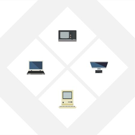 computerized: Flat Icon Computer Set Of PC, Notebook, Vintage Hardware And Other Vector Objects Illustration