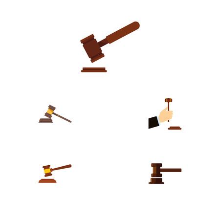 Flat Icon Hammer Set Of Justice, Law, Government Building And Other Vector Objects. Also Includes Court, Justice, Crime Elements.