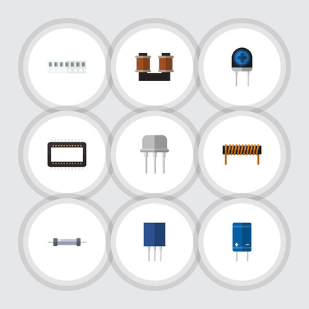 Flat Icon Technology Set Of Transducer, Resist, Memory And Other Vector Objects