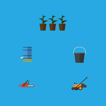 Flat Icon Farm Set Of Lawn Mower, Flowerpot, Hacksaw And Other Vector Objects