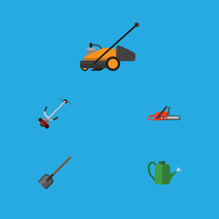 Flat Icon Dacha Set Of Shovel, Bailer, Lawn Mower And Other Vector Objects