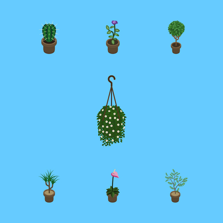 Isometric Plant Set Of Flower, Tree, Houseplant And Other Vector Objects Illustration