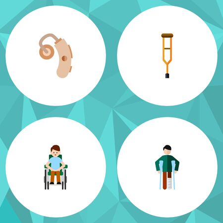 Flat Icon Cripple Set Of Disabled Person, Audiology, Injured And Other Vector Objects