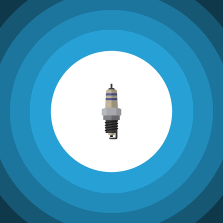 axles: Spare Parts Vector Element Can Be Used For Spark, Plug, Combustion Design Concept.  Isolated Spark Plug Flat Icon.
