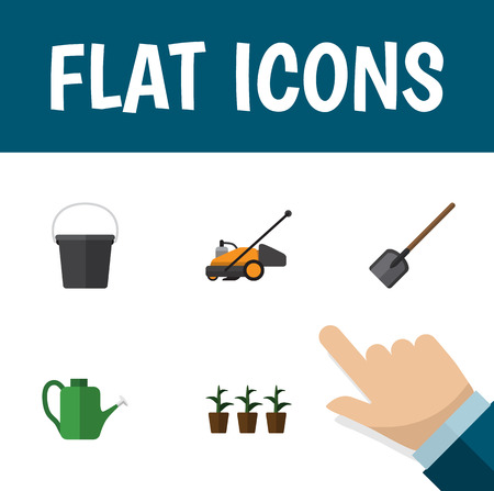 Flat Icon Dacha Set Of Shovel, Bailer, Flowerpot And Other Vector Objects Illustration