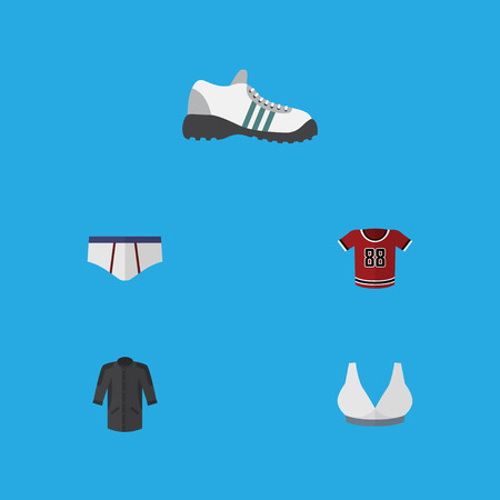 Flat icon dress set of T-shirt, underclothes, brasserie and other vector objects Illustration