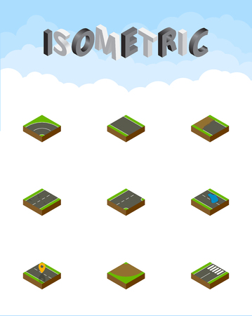 unilateral: Isometric way set of footer, bitumen, turn and other vector objects