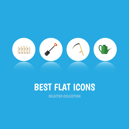 Flat icon garden set of wooden barrier, cutter, bailer and other vector objects