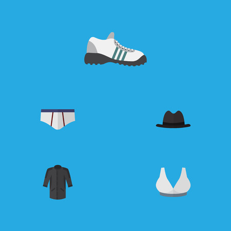 Flat icon dress set of brasserie, uniform, sneakers and other vector objects Illustration