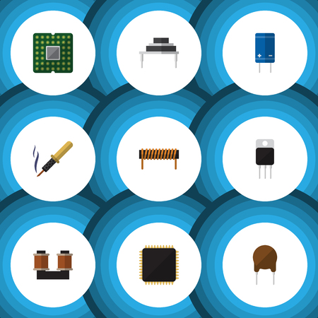 Flat Icon Appliance Set Of Receiver, Bobbin, Coil Copper And Other Vector Objects