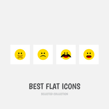Flat Icon Gesture Set Of Hush, Sad, Cheerful And Other Vector Objects Illustration