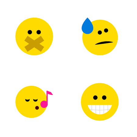 quandary: Flat Icon Expression Set Of Tears, Grin, Descant And Other Vector Objects