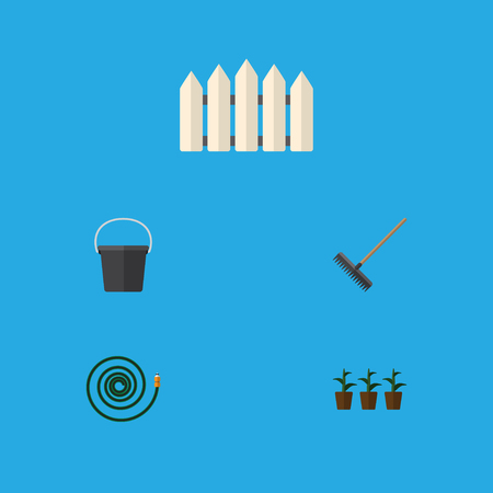 Flat Icon Dacha Set Of Hosepipe, Harrow, Wooden Barrier And Other Vector Objects Illustration