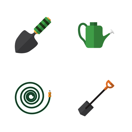 Flat Icon Farm Set Of Hosepipe, Trowel, Bailer And Other Vector Objects