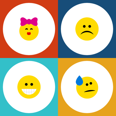 Flat Icon Expression Set Of Tears, Sad, Caress And Other Vector Objects Reklamní fotografie - 83408268