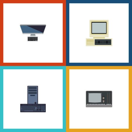 Flat Icon Laptop Set Of Vintage Hardware, Processor, Computer And Other Vector Objects