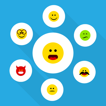 Flat Icon Expression Set Of Pleasant, Frown, Displeased And Other Vector Objects