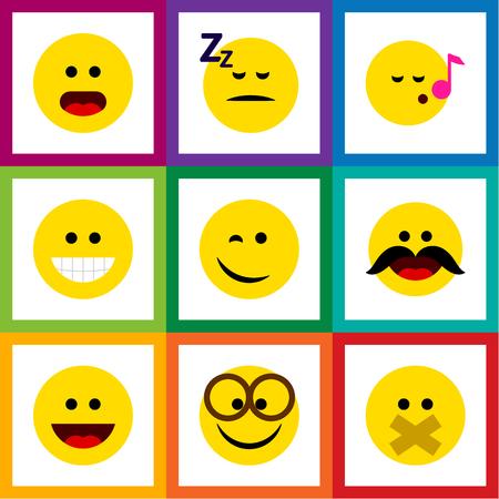 Conjunto de iconos de cara plana de alegre, guiño, Descant y otros objetos vectoriales Ilustración de vector
