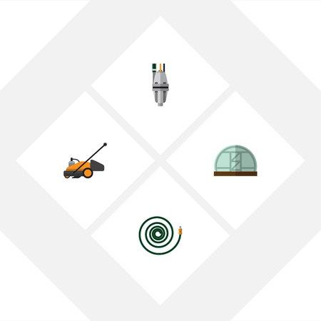 Flat Icon Garden Set Of Pump, Hothouse, Hosepipe And Other Vector Objects