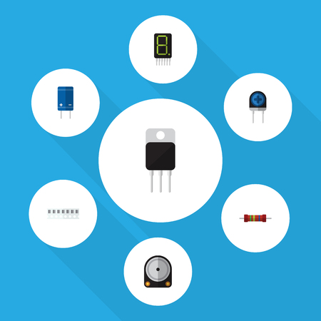 Flat Icon Device Set Of Hdd, Display, Transducer And Other Vector Objects Illustration