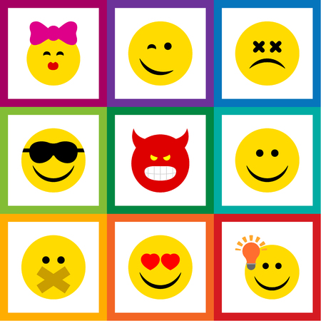 Flat Icon Emoji Set Of Love, Pouting, Cross-Eyed Face And Other Vector Objects Stok Fotoğraf - 83408406