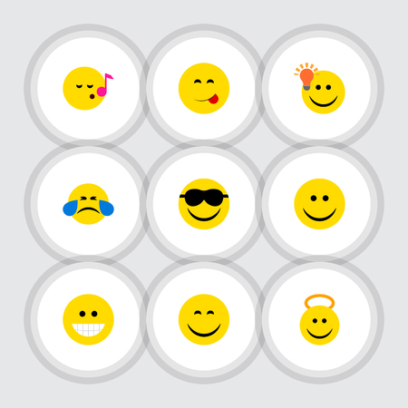 Flat Icon Emoji Set Of Happy, Have An Good Opinion, Grin And Other Vector Objects