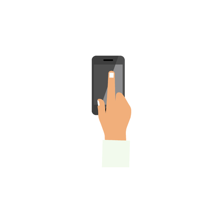 touch screen phone: Touchscreen Vector Element Can Be Used For Touchscreen, Interactive, Display Design Concept.  Isolated Interactive Display Flat Icon.