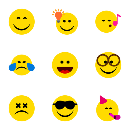 Flat Icon Emoji Set Of Cold Sweat, Party Time Emoticon, Have An Good Opinion And Other Vector Objects