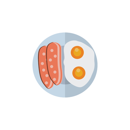 Fried Egg Vector Element Can Be Used For Egg, Breakfast, Sausage Design Concept.  Isolated Breakfast Flat Icon.