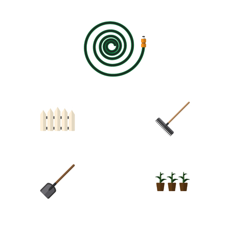 Flat Icon Farm Set Of Wooden Barrier, Harrow, Hosepipe And Other Vector Objects Çizim