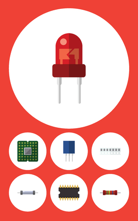 Flat Icon Electronics Set Of Recipient, Resistance, Memory And Other Vector Objects Illustration
