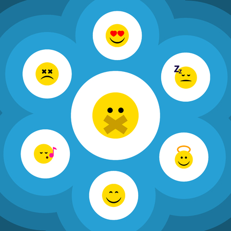 Flat Icon Gesture Set Of Cross-Eyed Face, Descant, Hush And Other Vector Objects