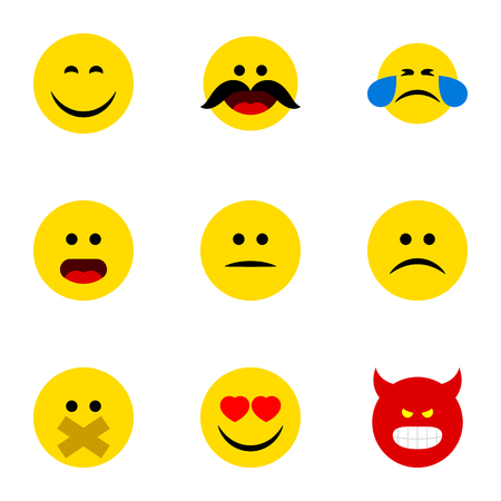 misunderstanding: Flat Icon Face Set Of Love, Wonder, Sad And Other Vector Objects Illustration
