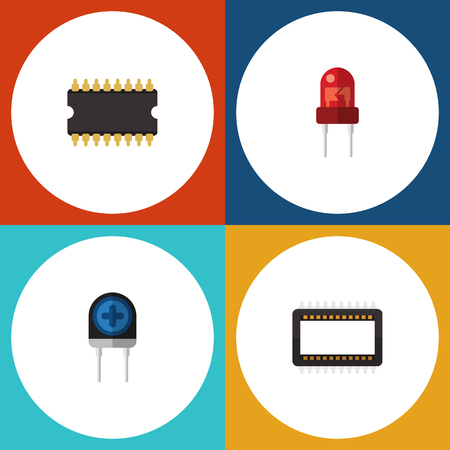 Flat Icon Electronics Set Of Transducer, Mainframe, Microprocessor And Other Vector Objects