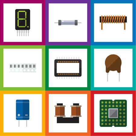 Flat Icon Technology Set Of Coil Copper, Mainframe, Triode And Other Vector Objects.