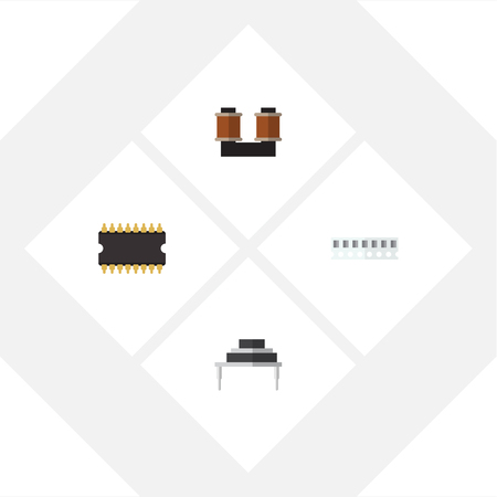 Flat Icon Appliance Set Of Memory, Microprocessor, Coil Copper And Other Vector Objects.