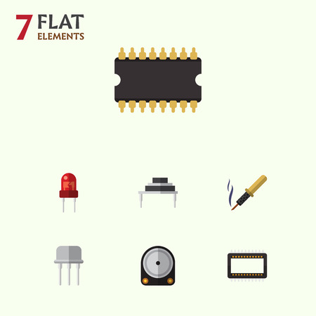 Flat Icon Device Set Of Mainframe, Microprocessor, Hdd And Other Vector Objects
