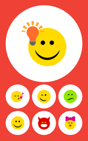 Flat Icon Emoji Set Of Descant, Winking, Joy And Other Vector Objects Reklamní fotografie - 83461365
