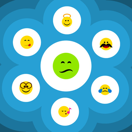 Flat Icon Expression Set Of Cold Sweat, Frown, Cheerful And Other Vector Objects Illustration