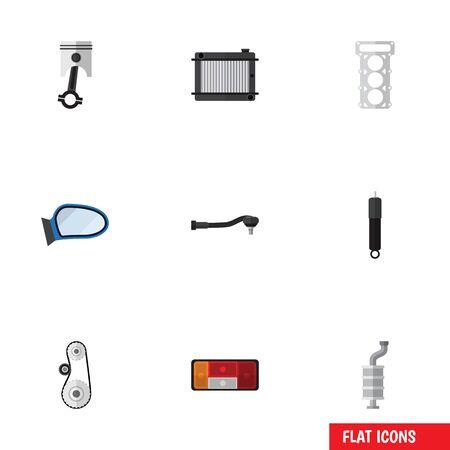 Flat Icon Parts Set van verwarming, Cambelt, koplamp en andere vectorobjecten