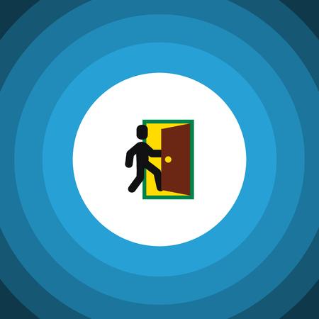 doorknob: Evacuation Vector Element Can Be Used For Evacuation, Exit, Door Design Concept.  Isolated Open Door Flat Icon.