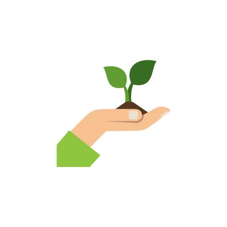L'élément de vecteur de soin peut être employé pour l'usine, soin, concept de conception de main. Icône plate de plante isolée.