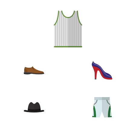 Flat Icon Garment Set Of Trunks Cloth, Male Footware, Singlet And Other Vector Objects