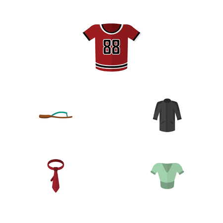 Flat Icon Clothes Set Of T-Shirt, Uniform, Casual And Other Vector Objects Illustration