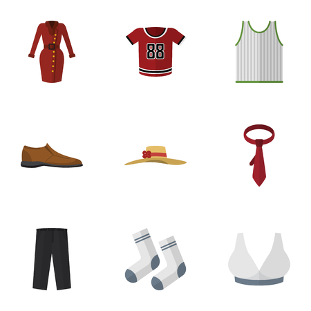 Flat Icon Garment Set Of Clothes, Pants, Singlet And Other Vector Objects
